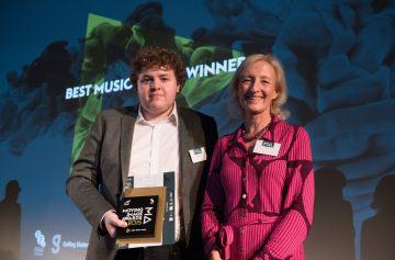Ex-Student Matthew Sedgley collecting his award - Moving Image Awards 2015